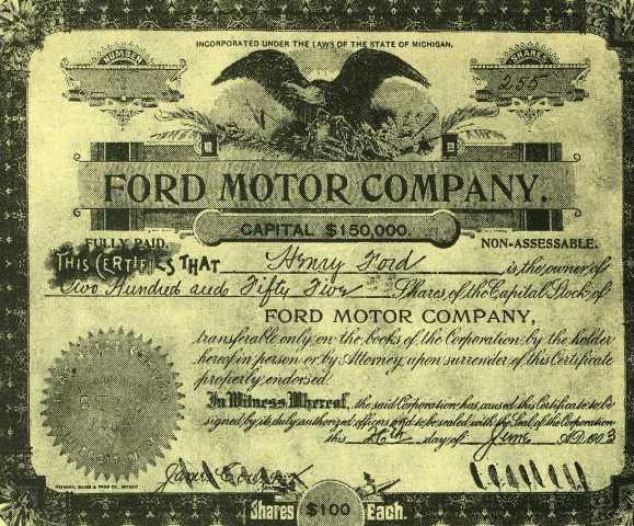 Сертификат от 1903 г., удостоверяващ, че Хенри Форд приитежава 255 дяла от компанията с негово име
