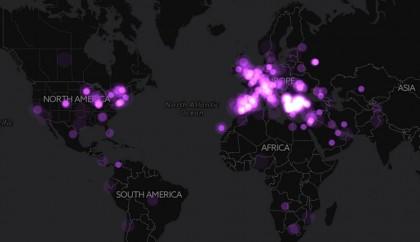 Карта на българчета, родени по света през последните 10 години. Източник: Yurukov.net