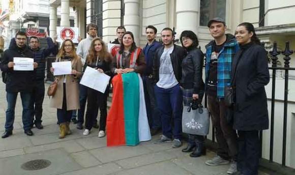 Протест на Българи в Лондон срещу последните промени в Изборник кодекс. Снимка: Снимка: Мария Спирова