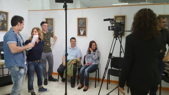 Испанските актьори Ана Наварете и Давид Де Мигел,които партнират в тази сцена на Христо Костов и Валентина Джумбешлиева