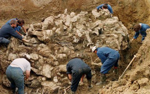 Изравяне на масов гроб край Сребреница