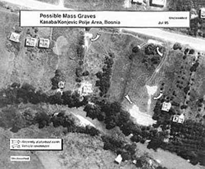 Сателитна снимка на масовите гробове в Нова Касаба. Източник: Уикипедия