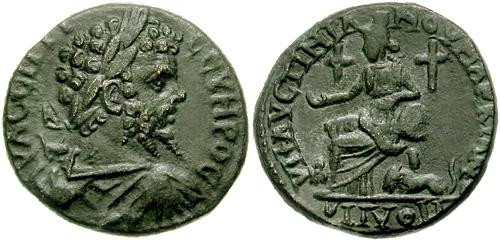 Фиг. 12. Монета с кръстове около Богинята-майка - Кибела
