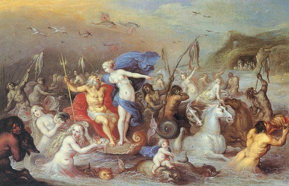 Триумфът на Амфитрита, 1630 г. кртина на Франкен Франс II (1581-1642). Източник: pinterest.com