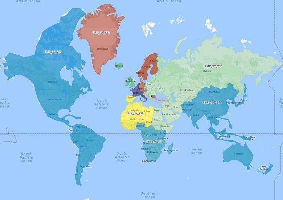 Карта на мажоритарните райони извън страната. Източник: Инициативен комитет за национален референдум '2016