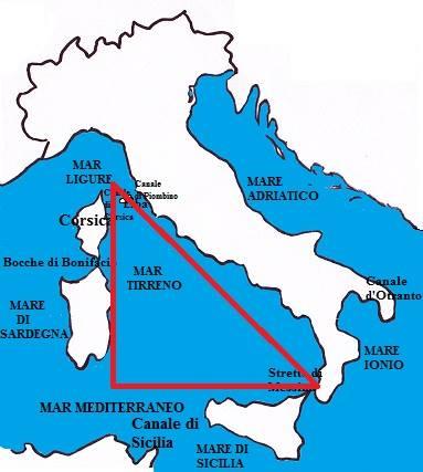Фиг. 1 Карта на Тиренско море http://www.schededigeografia.net/Italia/Mari_Coste/mar_tirreno.htm