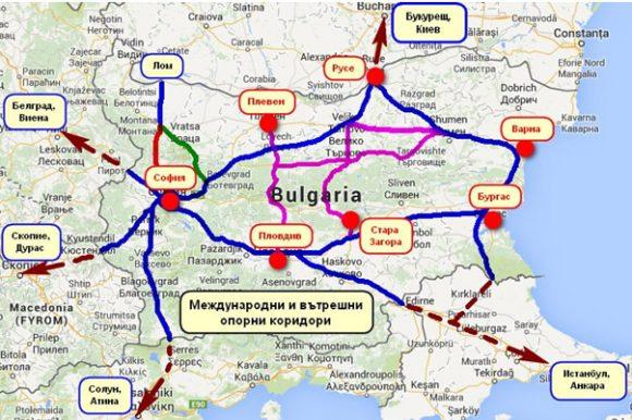 Карта за нова държавна транспортна стратегия, разбработена от учени и експери през 2014 г. и останала неосъществена. Източник: nmihaylov.com