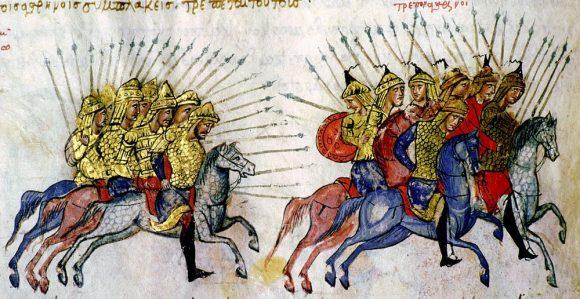 Преследване на арабска конница. Миниатюра от Хроника на Йоан Скилица (ХI в.)