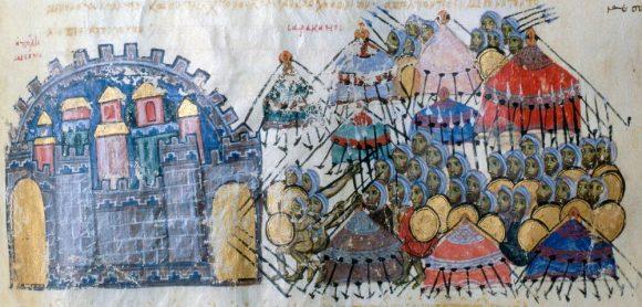 Войска на Aрабския халифат на лагер пред византийска крепост. Хроника на Йоан Скилица (ХI в.)
