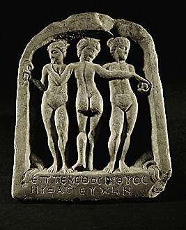 The Three Graces. Marble relief (2nd CE), from Saladinovo near Pazardjik. Фиг. 13. Стела с три нимфи от с. Огняново, Пазарджишко