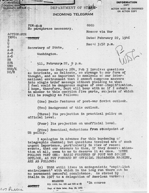 """Първа страница на """"Дългата телеграма"""". Източник: Desebg.com"""