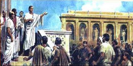 Тиберий Гракх говори пред римляните. Източник: Volna.org