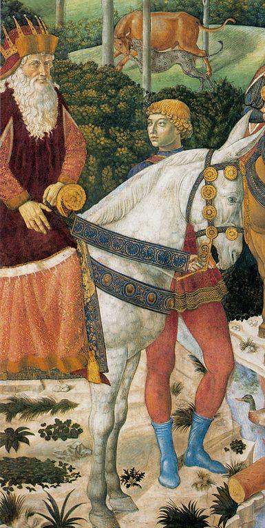 """Фиг. 7. Патриарх Йосиф II на Фераро-Флорентинския събор. Част от композицията на Беноцо Гоцоли """"Поклонението на Влъхвите"""" в Капелата на Медичите в двореца Рикарди във Флоренция (1459 г.)"""