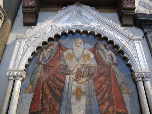 """Фиг. 8. Образът на Патриарха на паметната плоча върху гроба му във флорентинската църква """"Санта Мария Новела"""""""
