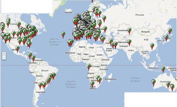 Карта на българите по света. Източник: Иван Лефтеров, bgnow.eu