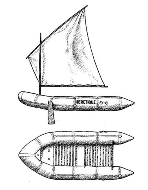 """Еретик"" – надувната лодка на д-р Ален Бомбар"