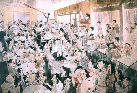 """Известният уникален шарж на Александър Добринов с известни посетители на кафене """"Цар Освободител"""""""